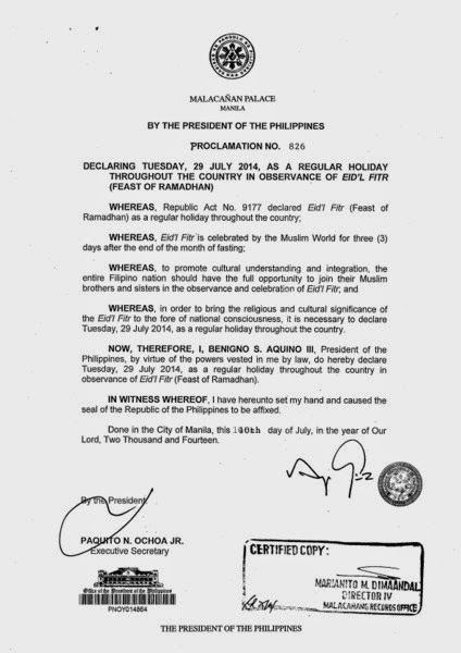 Eid'l Fitr, Feast of Ramadhan, Regular Holiday, No Work, Davao City, Davao Delights, Proclamation No. 826