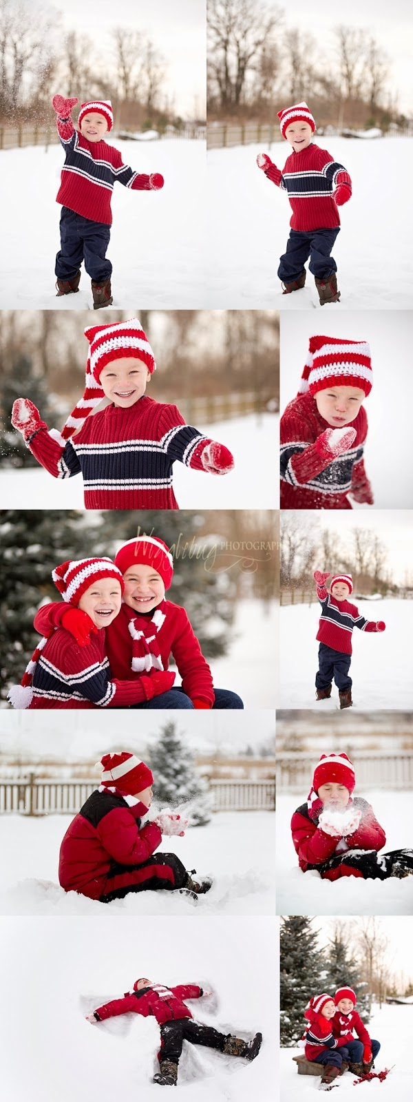 boys playing in snow: Winter outdoor portraits