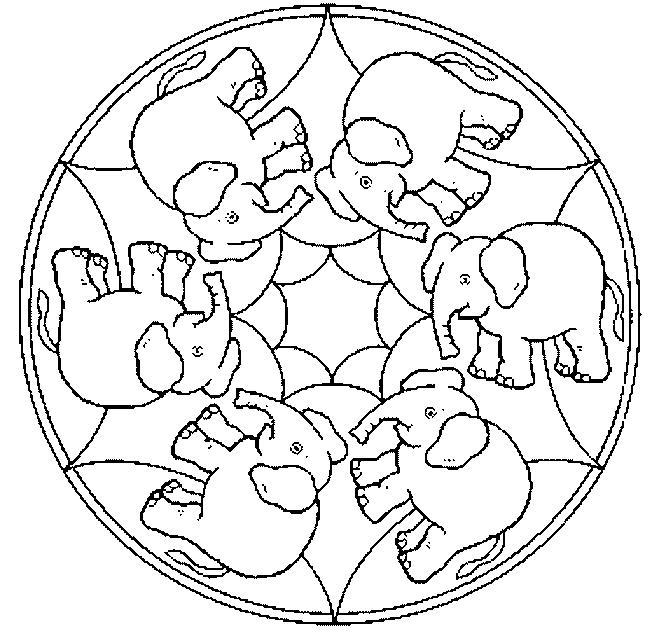 mandala elephant coloring pages easy - photo#18