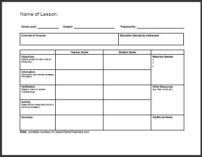 All Templates: Daily Lesson Plan Template