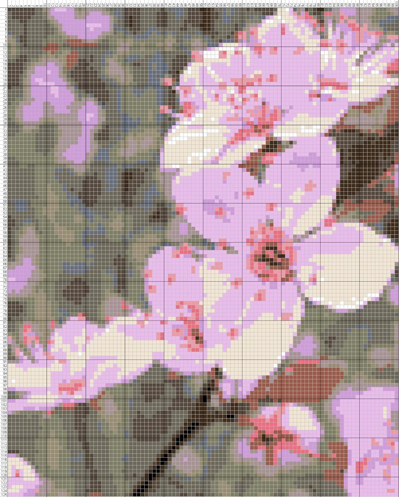 Gambar Pola Kristik Bunga Sakura Merah Muda Jepang
