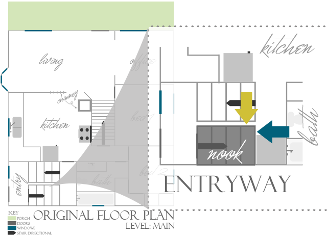 Floor plan to reroute our entryway | www.blackandwhiteobsession.com