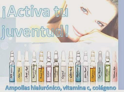 Ampollas  de Colágeno, ácido hialurónico y vitamina C.
