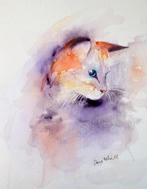 peinture aquarelle chat