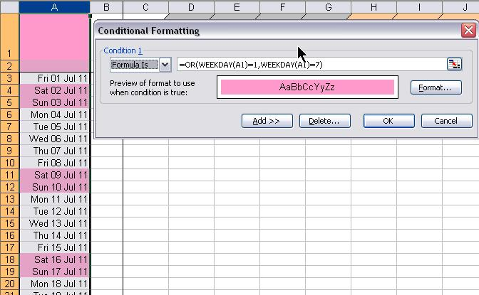 Digbys Help Excel Conditional Formatting Colour Cells Containing Weekend Dates
