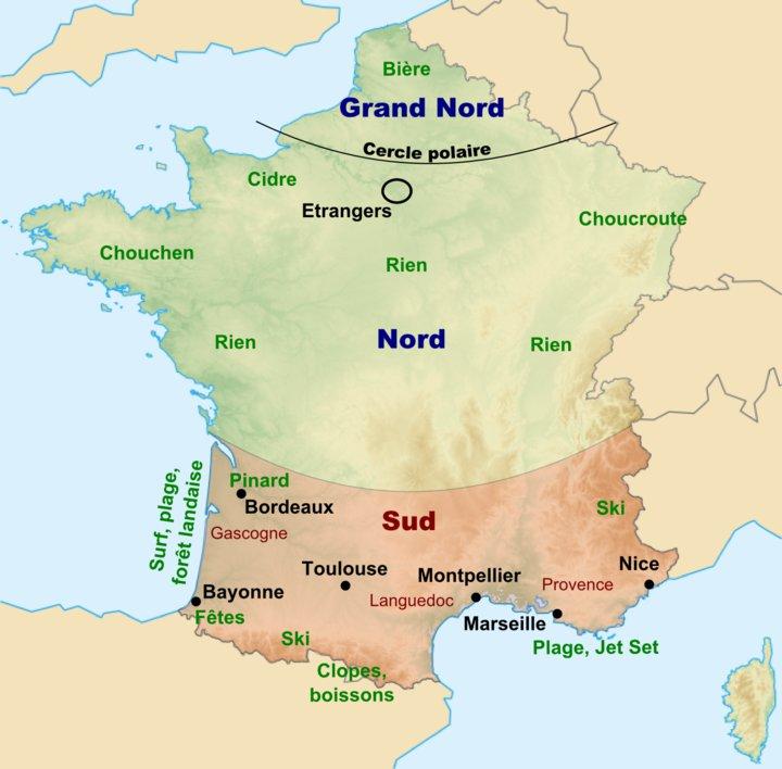 carte de france pour un sudiste