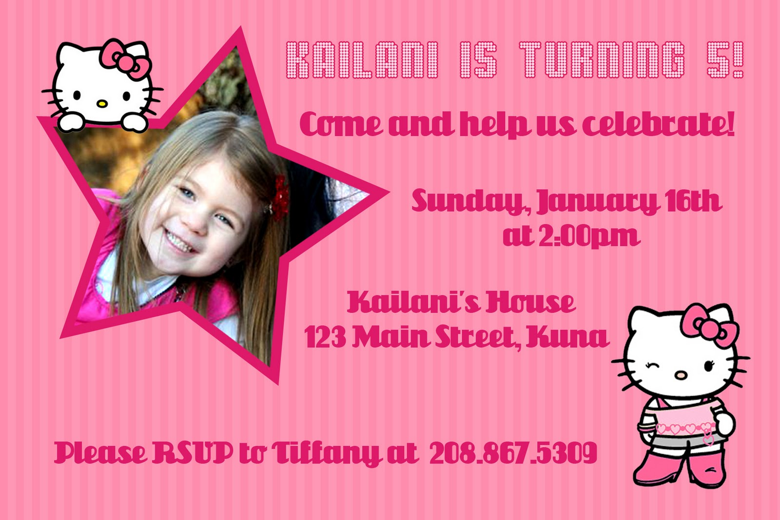 Kayleighs Kreations Hello Kitty Stars Invitation