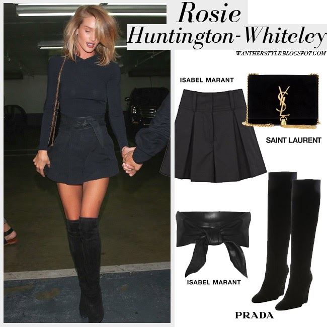 Rosie Huntington-Whiteley in black top, black Isabel Marant Ifea shorts and black suede over the knee boots Prada want her style fashion inspiration april 3