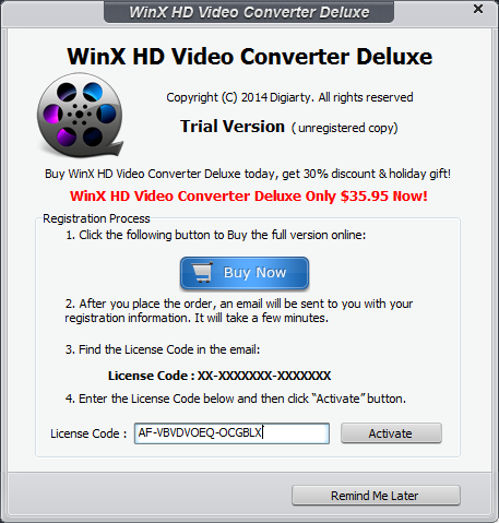 15 Jan 2015 WinX HD Video Converter Deluxe 2015 5.5 Crack and Serial Number