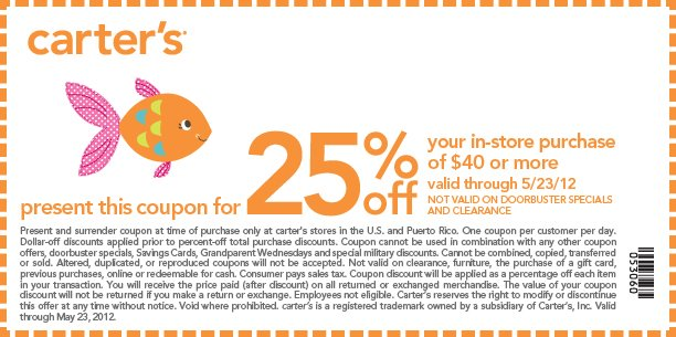 Carter's 25 off online coupon code