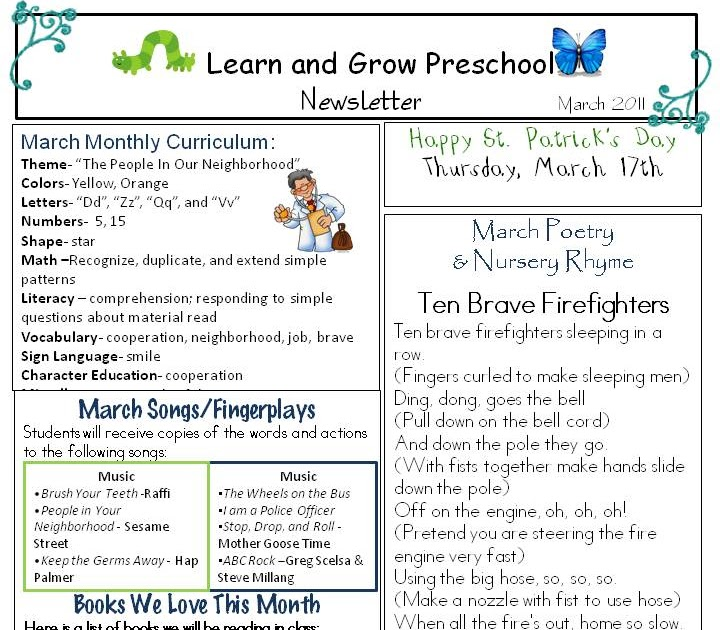 learn and grow designs website march preschool newsletter download community helpers. Black Bedroom Furniture Sets. Home Design Ideas