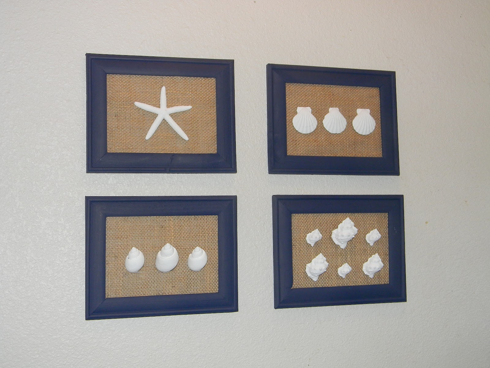 Attrayant DIY Sea Shell And Burlap Wall Art