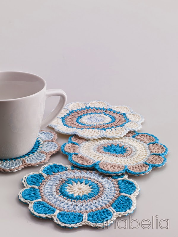 Spring flowers crochet coasters pattern anabelia craft - Set de table crochet ...