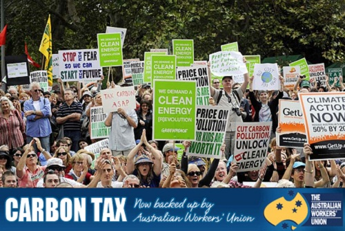 Carbon Tax now backed up by Australian Workers' Union