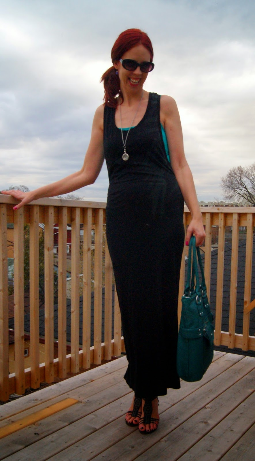 Travel Chic!: Bench Dress, Forever 21 Tank Top, Her Story Personalized Lockets, Mossimo Purse from Target Fashion, Style, Melanie.Ps Blogger Toronto, The Purple Scarf