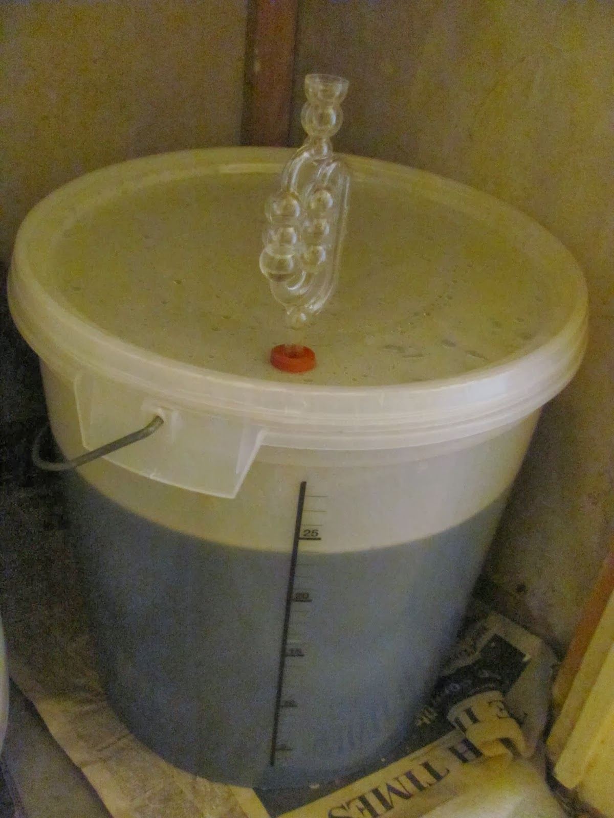 Fermenter is filled and sealed for fermentation