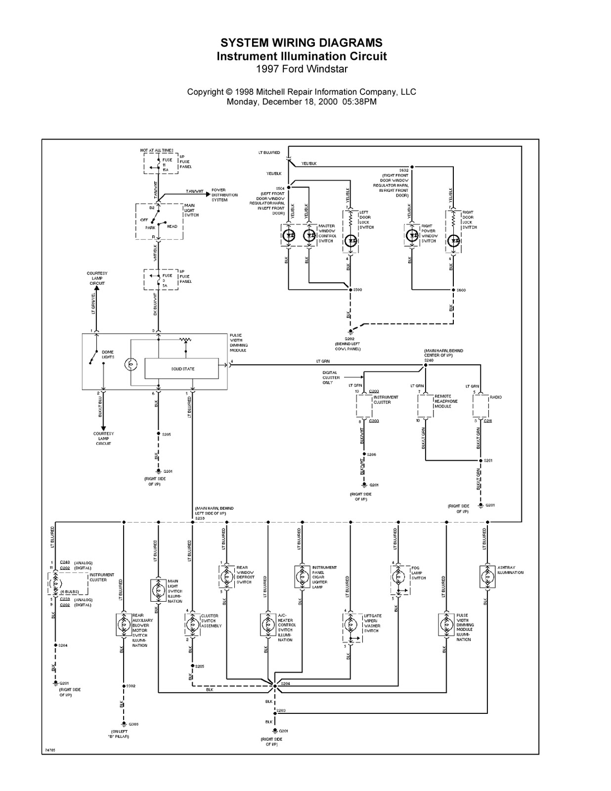 Wiring Diagrams For Ford Windstar 1997 Fuse Diagram Complete System 2001 Recalls Abs