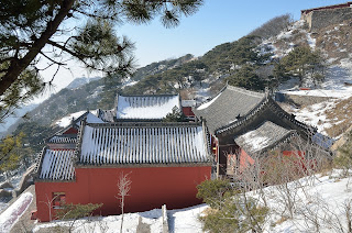 temple at Taishan with snow on the roof