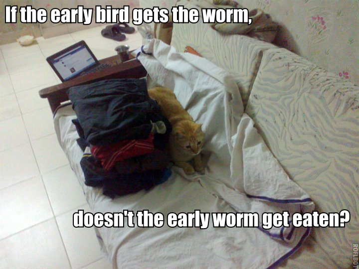 If the early bird gets the worm, doesn't the early worm get eaten?
