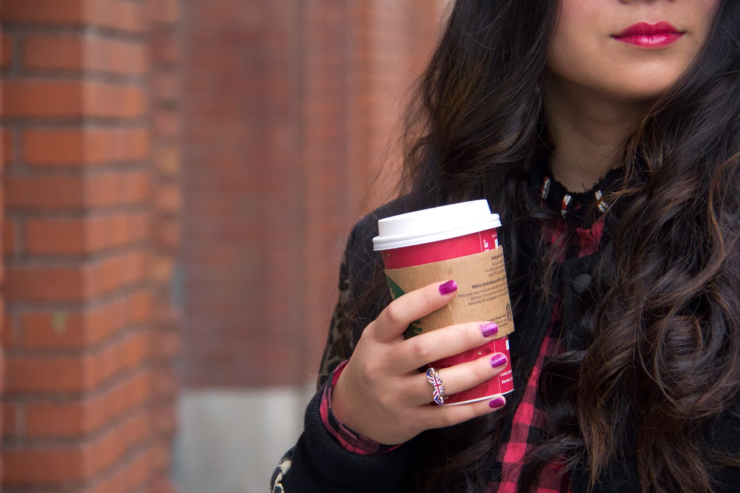 Purple-nail-polish, moustache-ring, Starbucks-Coffee, Street-Style