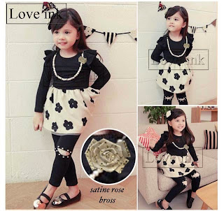 Dress Kids Black Flower + Kalung + Bros - Baju Anak Love Ink - Harga Saudara