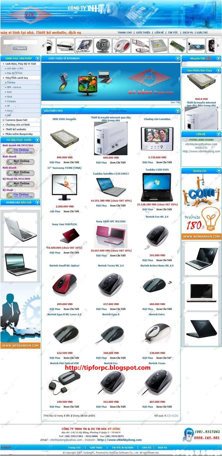 Source PHP Mã nguồn Website Shop bán máy tính Kỳ Đồng
