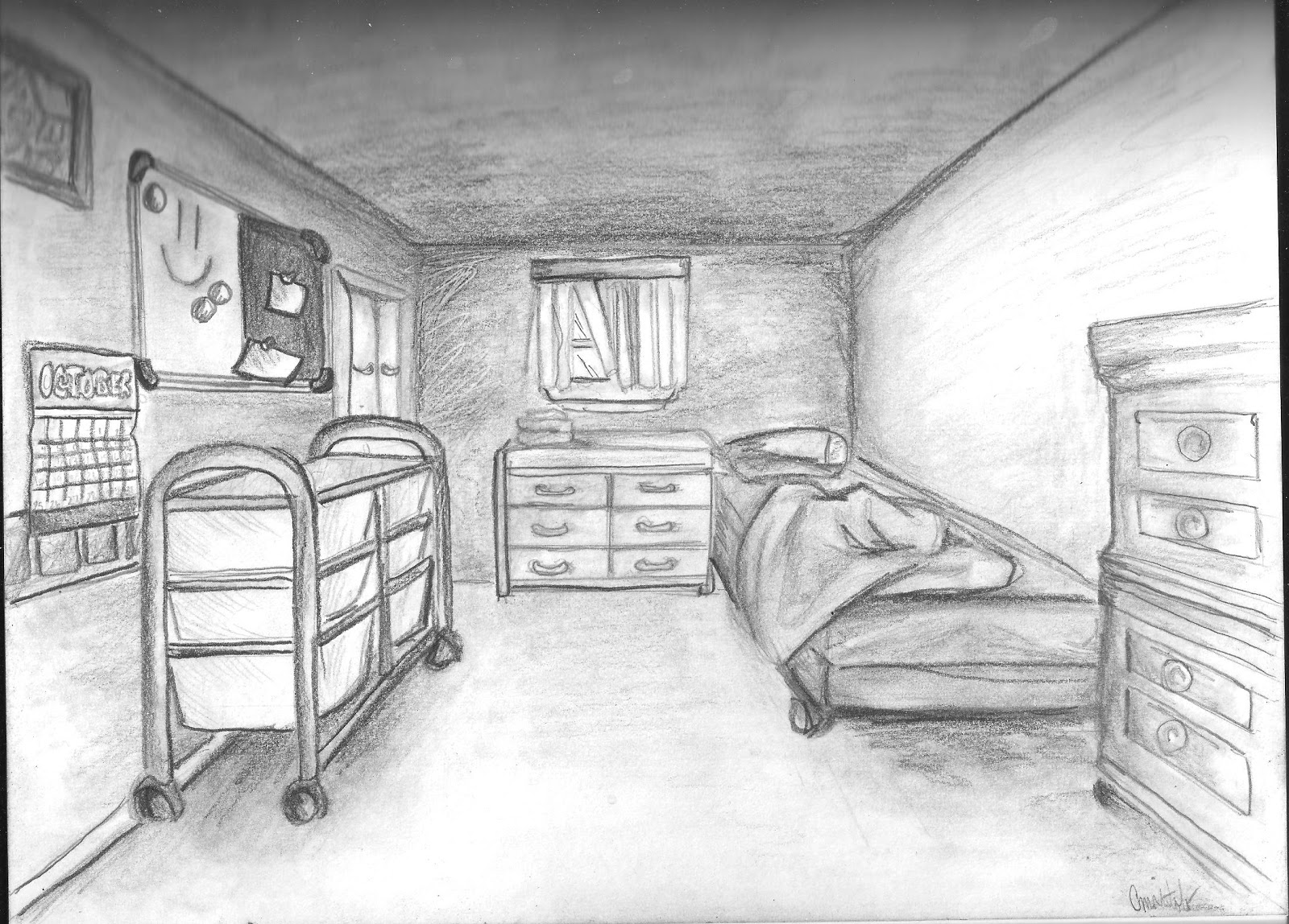 Mr wilson 39 s classroom at haggerston school year 8 - One point perspective drawing living room ...