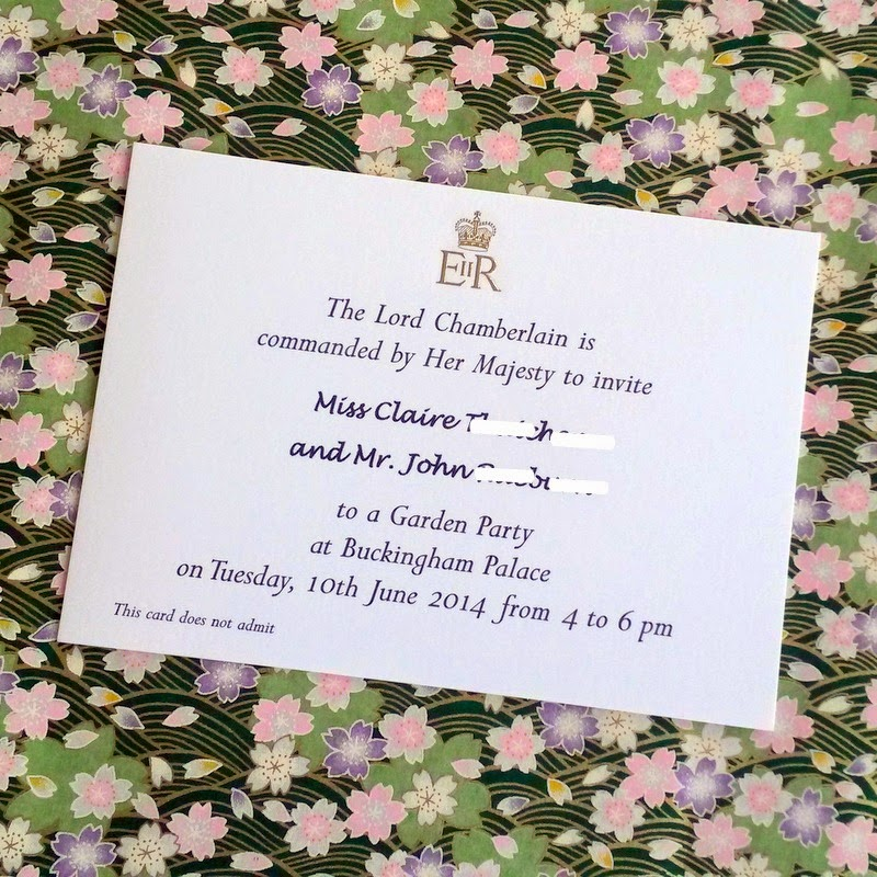 Official invitation to a garden arty at Buckingham Palace