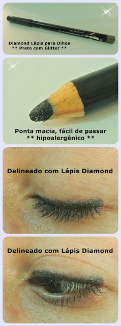 lapis diamond preto com glitter yes! cosmetics