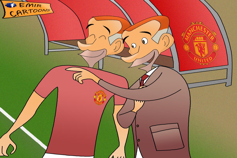 Manchester Uniteda,Manchester Uniteda Ryan Giggs,Ryan Giggs,Old Traford,Van Persi,Nemanje Vidica,emir balkan cartoons,emir cartoons, fudbal,karikature, karikatura dana,omar momani,