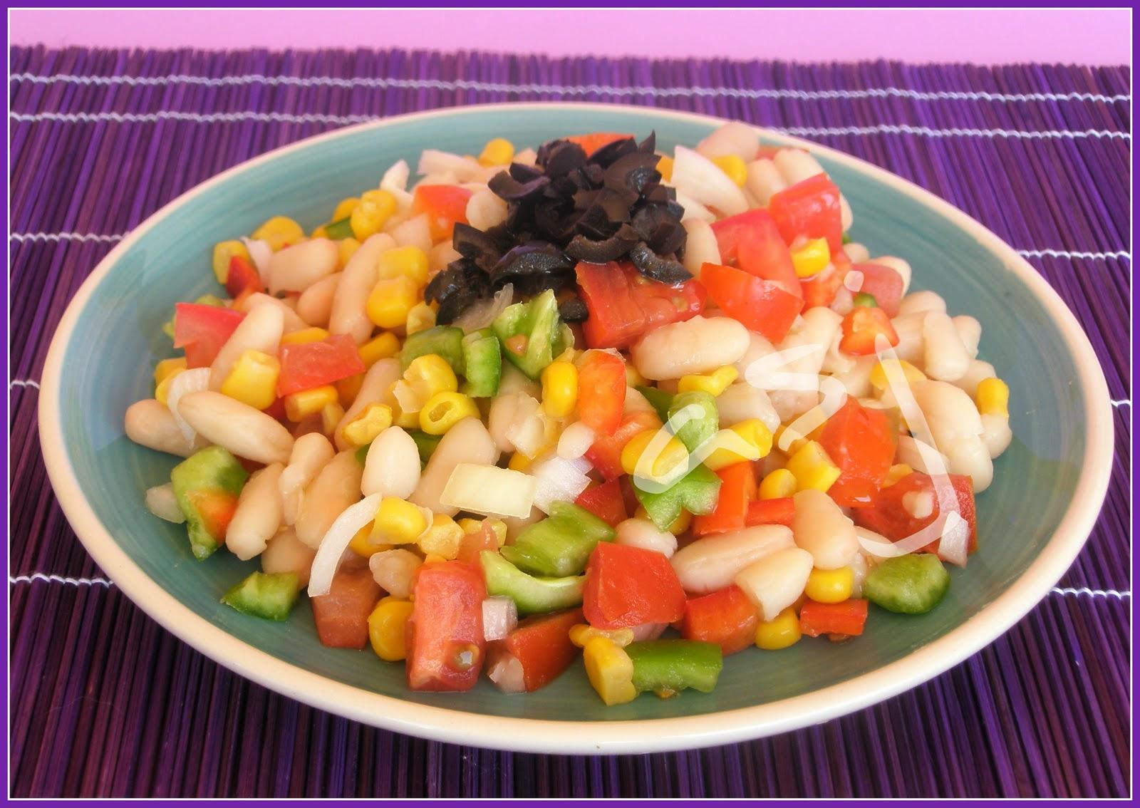 Una fiera en mi cocina ensalada de alubias con verdura - Ensalada de alubias ...