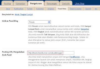 Mengubah Arah Feed blogger ke Feedburner
