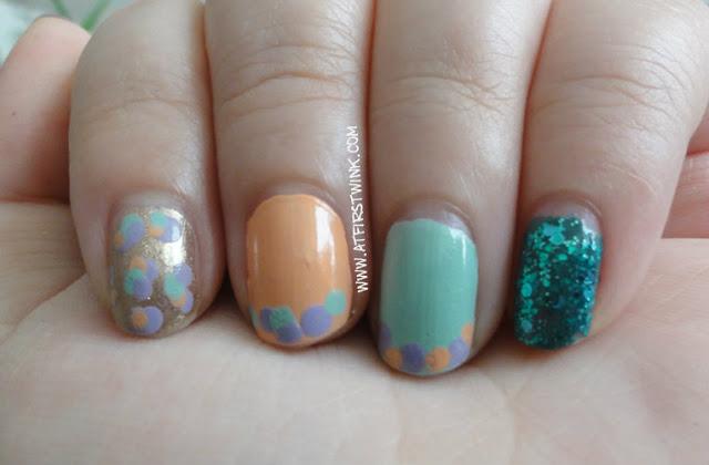 Dot pattern nails using Peripera nail polishes