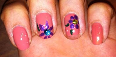nail art, flower, rhinestone