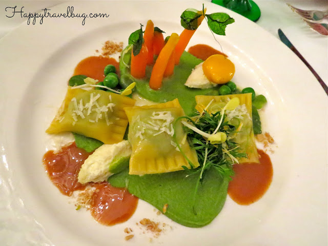Minted english pea ravioli
