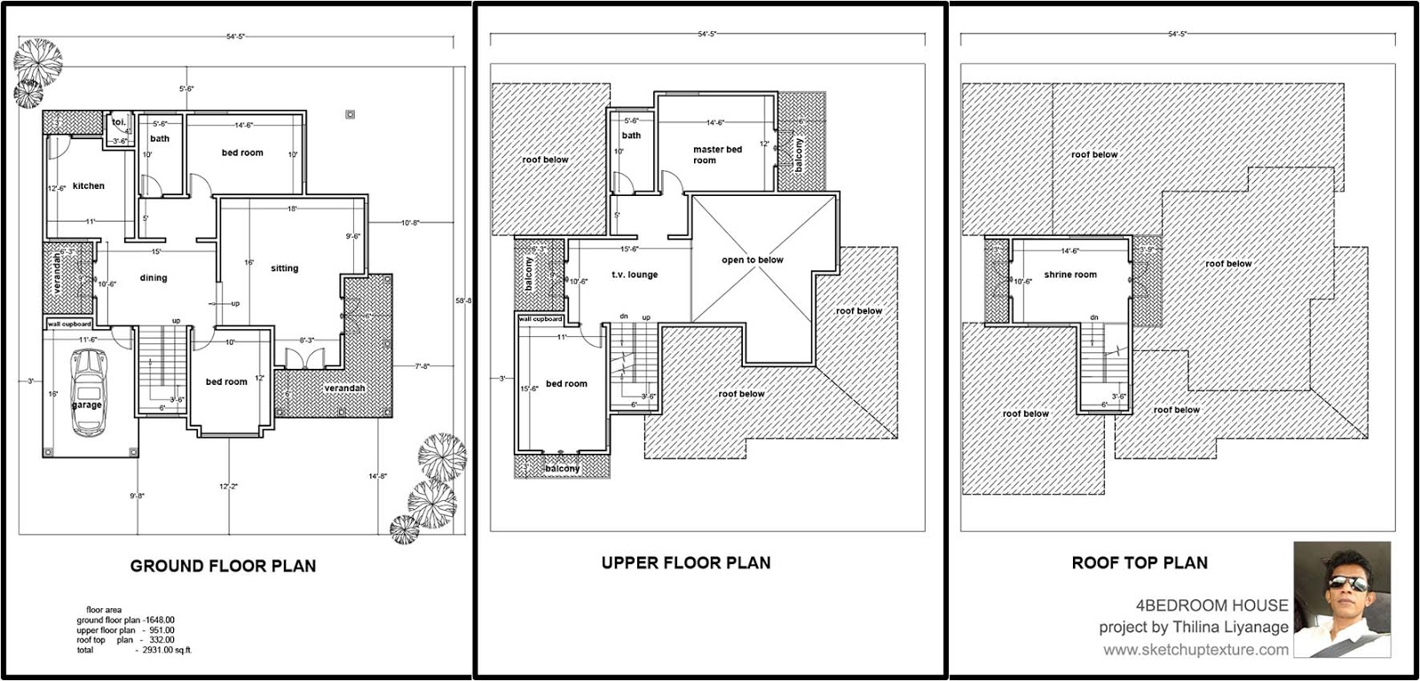 33#sketchup 3d model 4 bedroom house autocad 2d plan