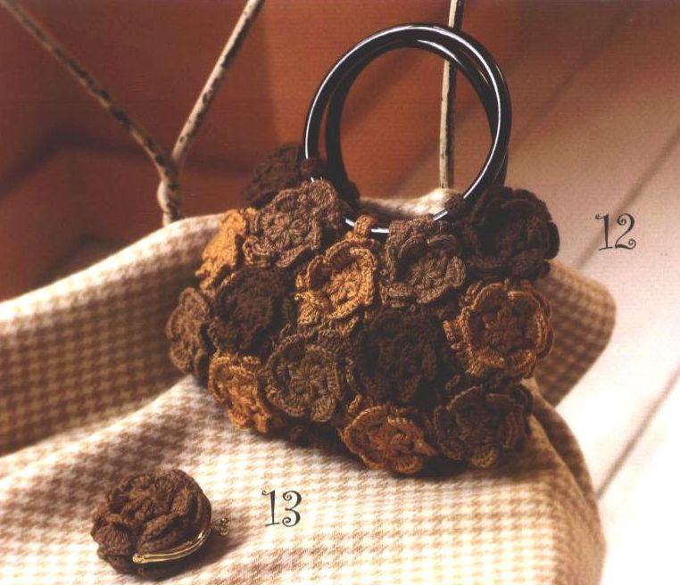 Patron Crochet Bolso Flores En Relieve
