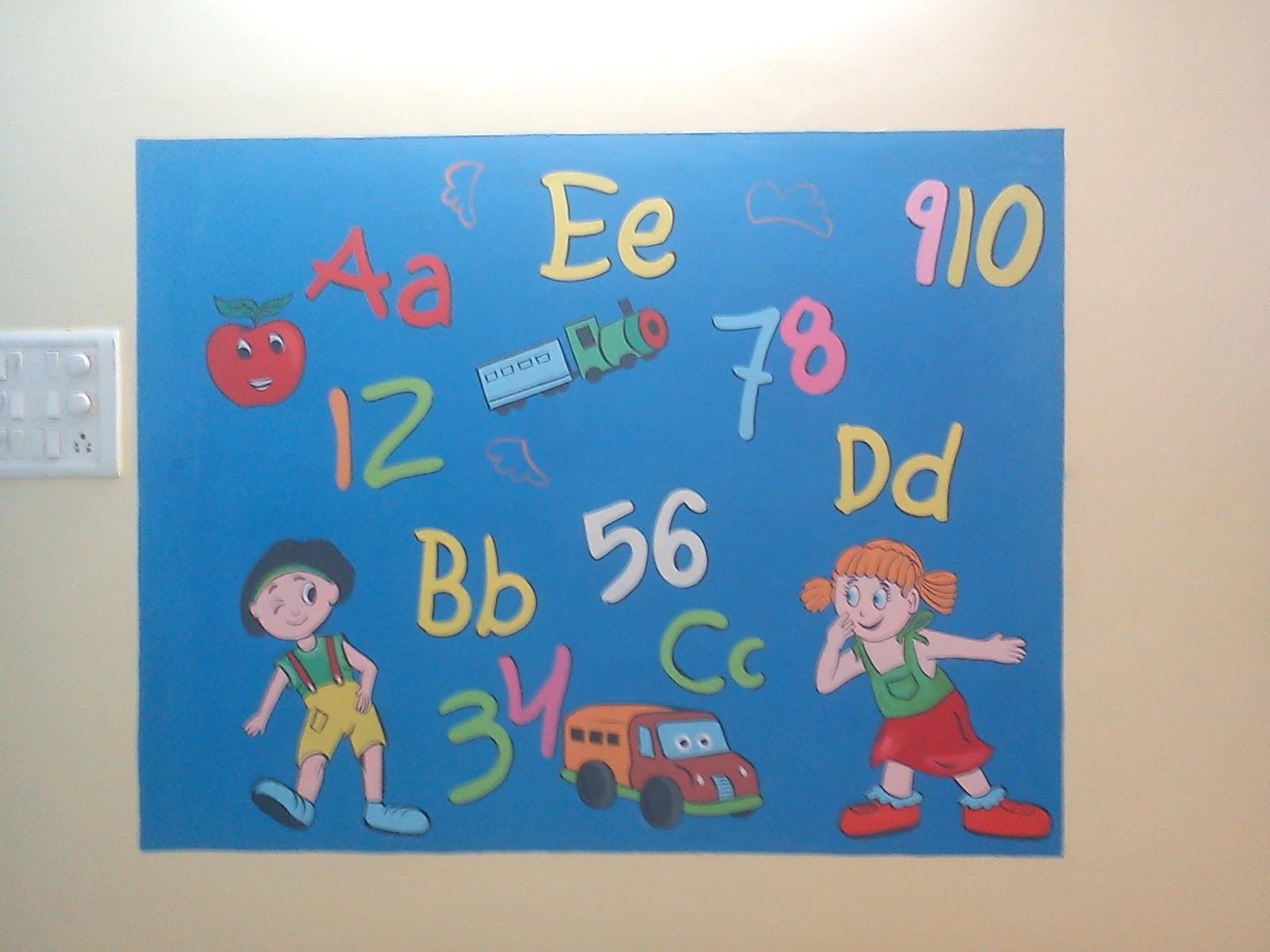 Pre school classroom wall murals for Cartoon mural painting