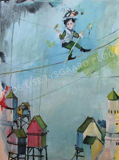 Kunst, maleri, art, line danser, huse, egern, rejse, kuffert, liv i balance, tightrope, farverig,