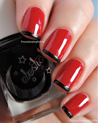 Red and Black french tips