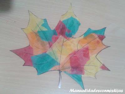 Manualidades infantiles: Hoja de otoño transparente 8 años