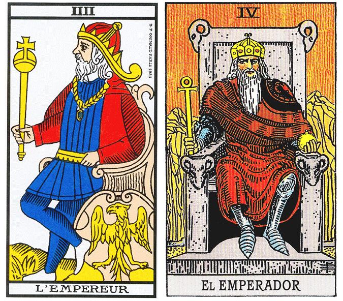 O Imperador Tarot de Marselha e Tarot Universal de Waite