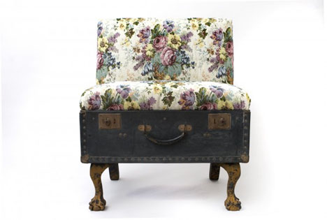 This cushioned vintage suitcase stool is floral and bright.
