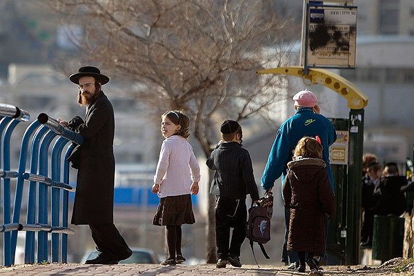 Orthodox man with children in an Israeli street