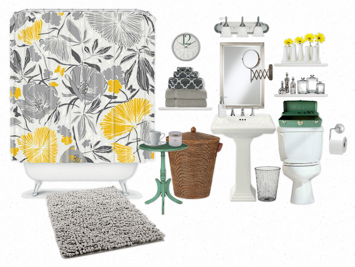 Gray + White + Yellow + Green Bathroom | My Next Place