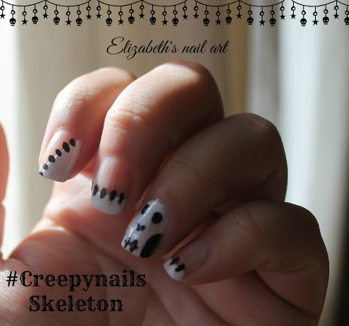 halloween diseño de uñas esqueletos