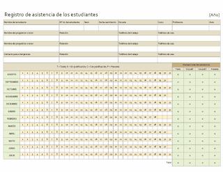 Descargar Registro de asistencia de los estudiantes, plantillas, modelos, formatos, ejemplos, excel
