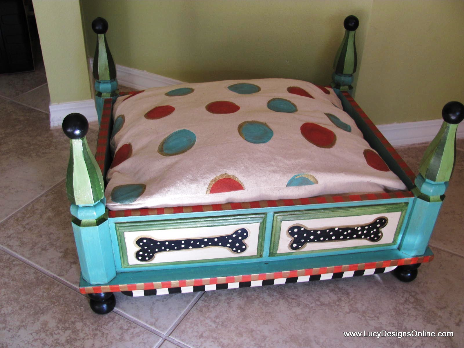 Hand Painted Turquoise Dog Bed from an End Table with Floral and Dot