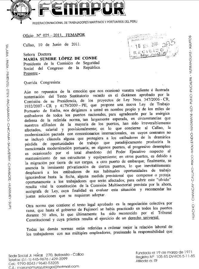 Ofcio N°025 – 2011 FEMAPOR