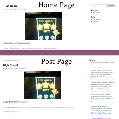 a Wordpress blog homepage vs a post page with WooSidebar custom widget areas enabled